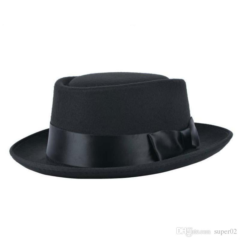 54f686f909bea 2019 Breaking Bad Walter White Heisenberg Hat Felt Hats Men Women S Fedora Pork  Pie Porkpie Hat With Black Bow Ribbon Church Flat Cap From Super02