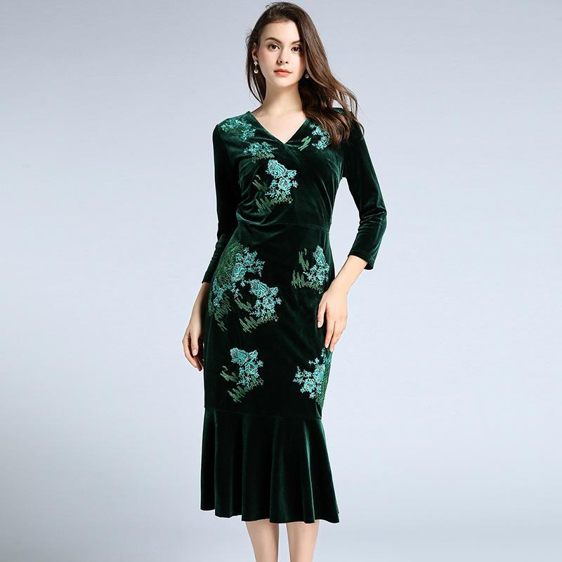 online retailer c8abf 624f0 Abiti da cerimonia con scollo a sirena Abiti da sera da donna Prom Abiti da  sera con scollo a V e maniche lunghe