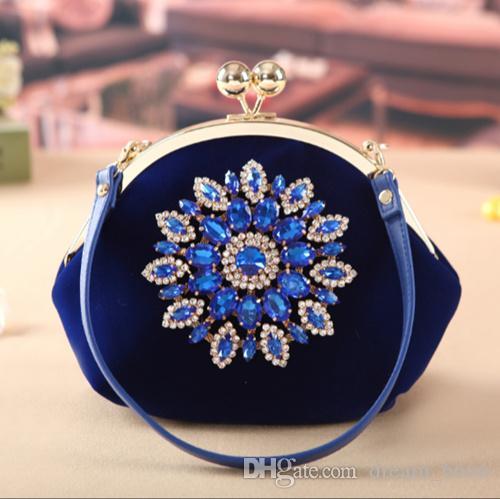 Women Ladies Party Bag Rhinestone Handbags Purse Luxury Evening Clutch Wedding Bride Wallet Velvet Shoulder Bag