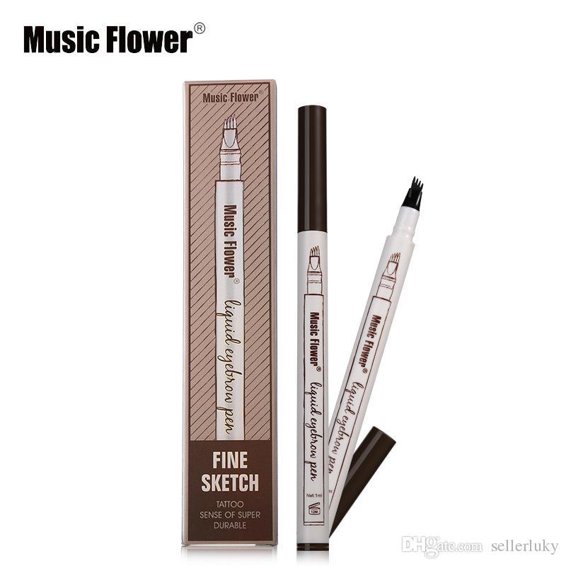 Музыка цветок жидкость бровей перо музыка цветок 4 головы бровей Enhancer 3 цвета двойной головы бровей Enhancer водонепроницаемый DHL Бесплатная доставка