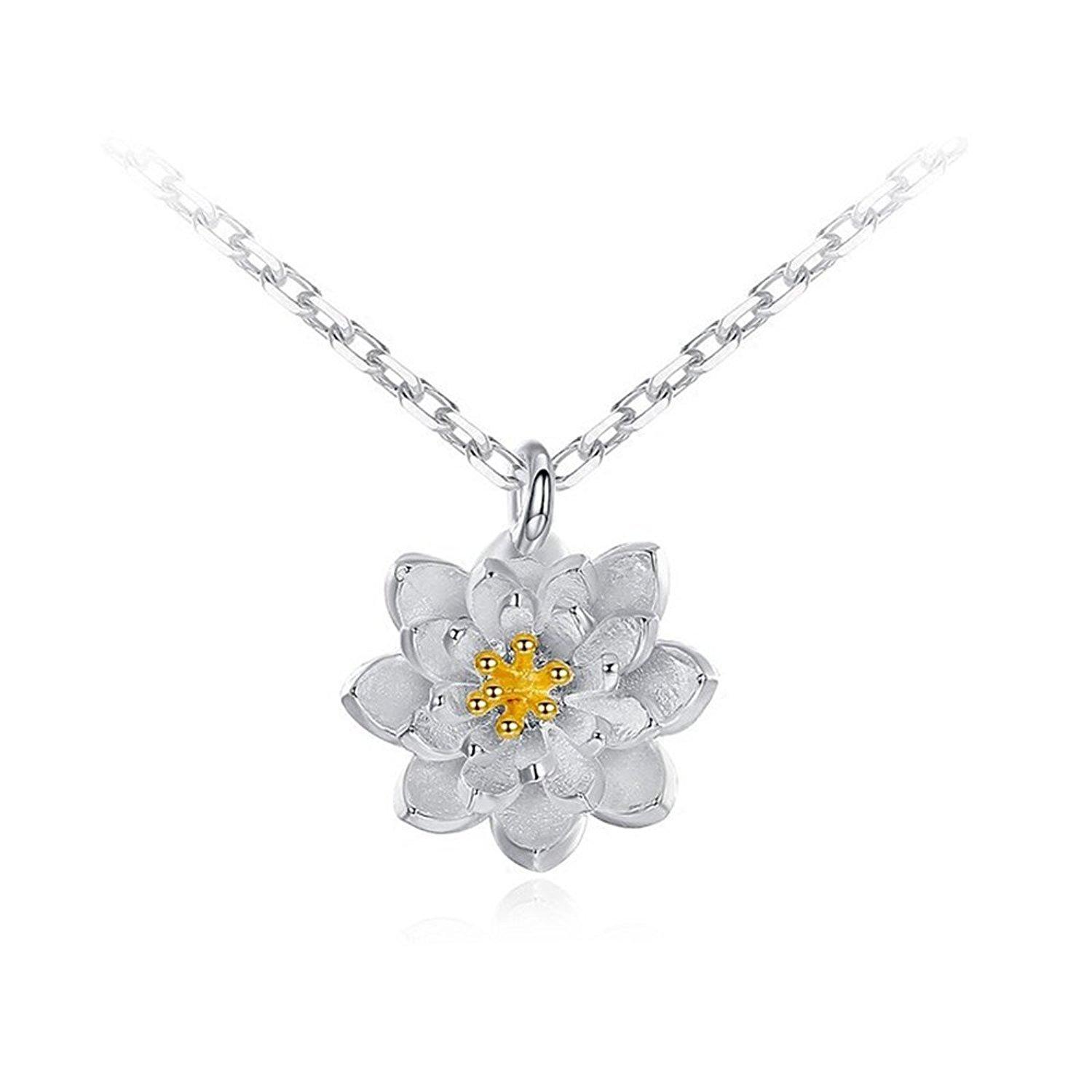 Wholesale lotus flower necklace cute blooming flower silver plated wholesale lotus flower necklace cute blooming flower silver plated chain pendant necklaces wedding party jewelry amber pendant necklace unique jewelry from izmirmasajfo
