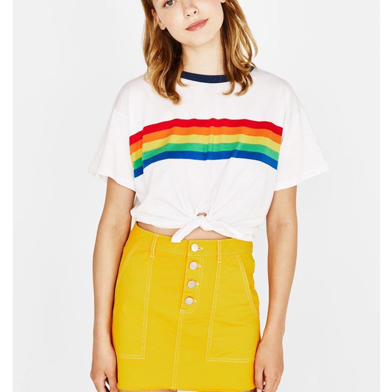 c722000a2ec Rainbow T Shirt Women Summer Vegan Tumblr BTS Kpop Girl Power Kyliejenner  Fashion White Crop Tops Teen Plus Size Feminina Femme Tea Shirts Fun Tshirts  From ...