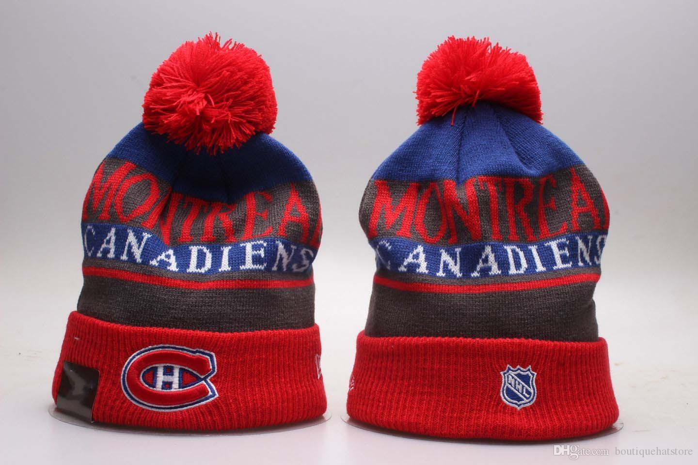 9554818ca215c 2018 New Montreal Sport Knitted Beanies Winter Warm Skull Hats Ice Hockey  Canadiens Vintage Pom Embroidery Team Logo Cuff Beanie Caps Funny Hats  Baseball ...
