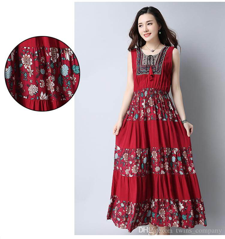 Yaz elbiseler Kolsuz kadın elbise casual A-Line pamuk ve Keten uzun elbise o-boyun vestidos de dresses