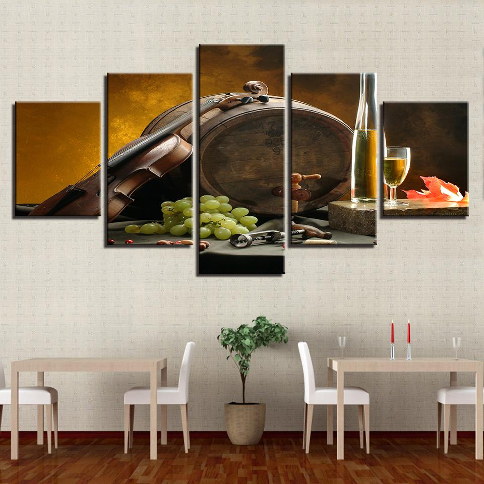 4755c0f04b31 2019 Canvas Painting Kitchen Wall Art Frame Wine Glass Oak Barrels Pictures  Modular HD Prints Grape Violin Poster Home Decor From Asite