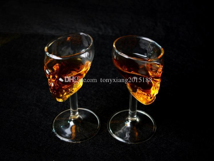 wholesales cNew Styles 75ml Skull Goblet Wine Glasses Creative Red wine vodka Bar night Wine Glass Transparent Bones Warrior Tumbler