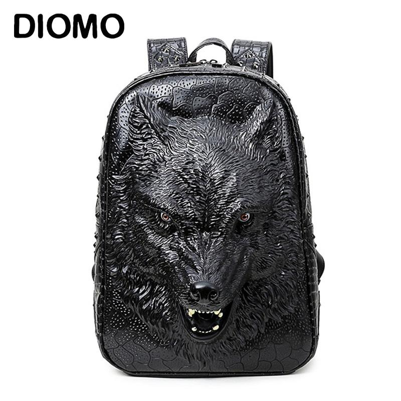990effda19ff DIOMO Stylish Backpacks 3D Wolf Head Backpack Special Cool Shoulder Bags  For Teenage Girls PU Leather Laptop School Bags Backpacks Bags From  Valineful
