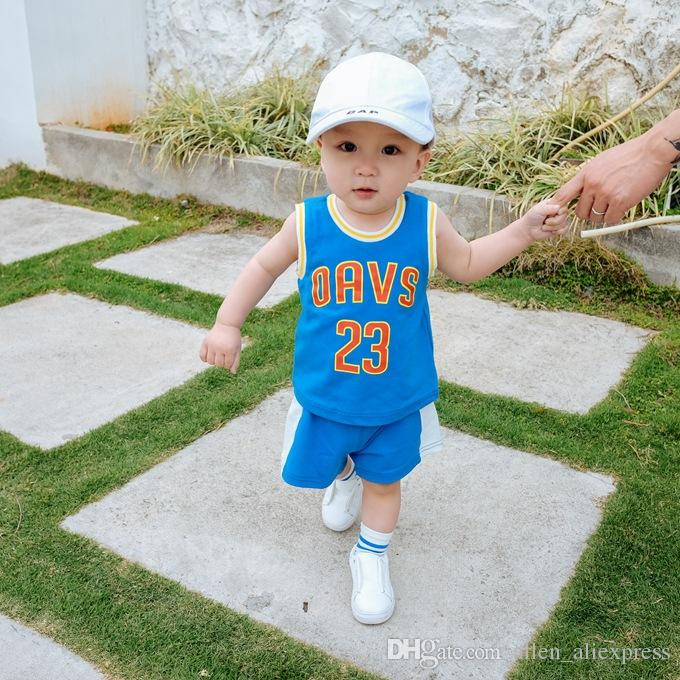 bd7e773d679 Baby Kids Basketball Jersey Small Boys Sleeveless Basketball Suit ...