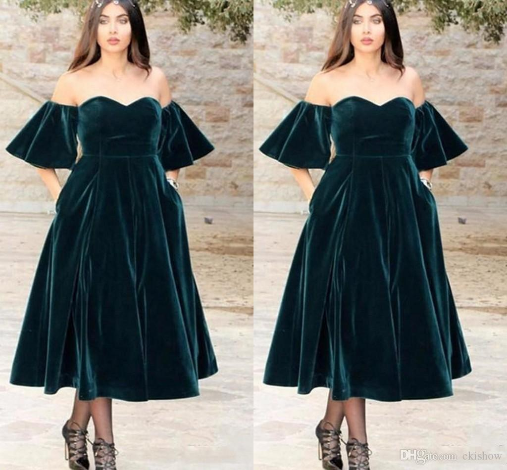 b7d58b7ac32 2018 Arabic Dark Green Velvet Sweetheart A Line Prom Dresses Short Sleeves  Tea Length Off Shoulder Forma Evening Party Dress Gowns Vestidos Prom  Dresses ...