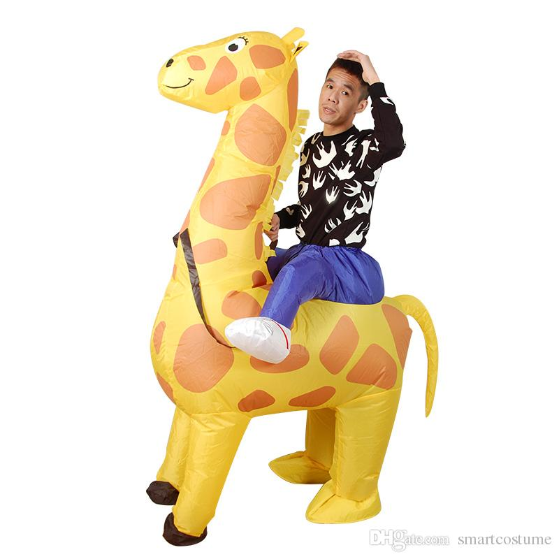 unisex design giraffe carry me inflatable costume for adult ride on giraffe inflatable suit for fun unique costumes nurse halloween costume from