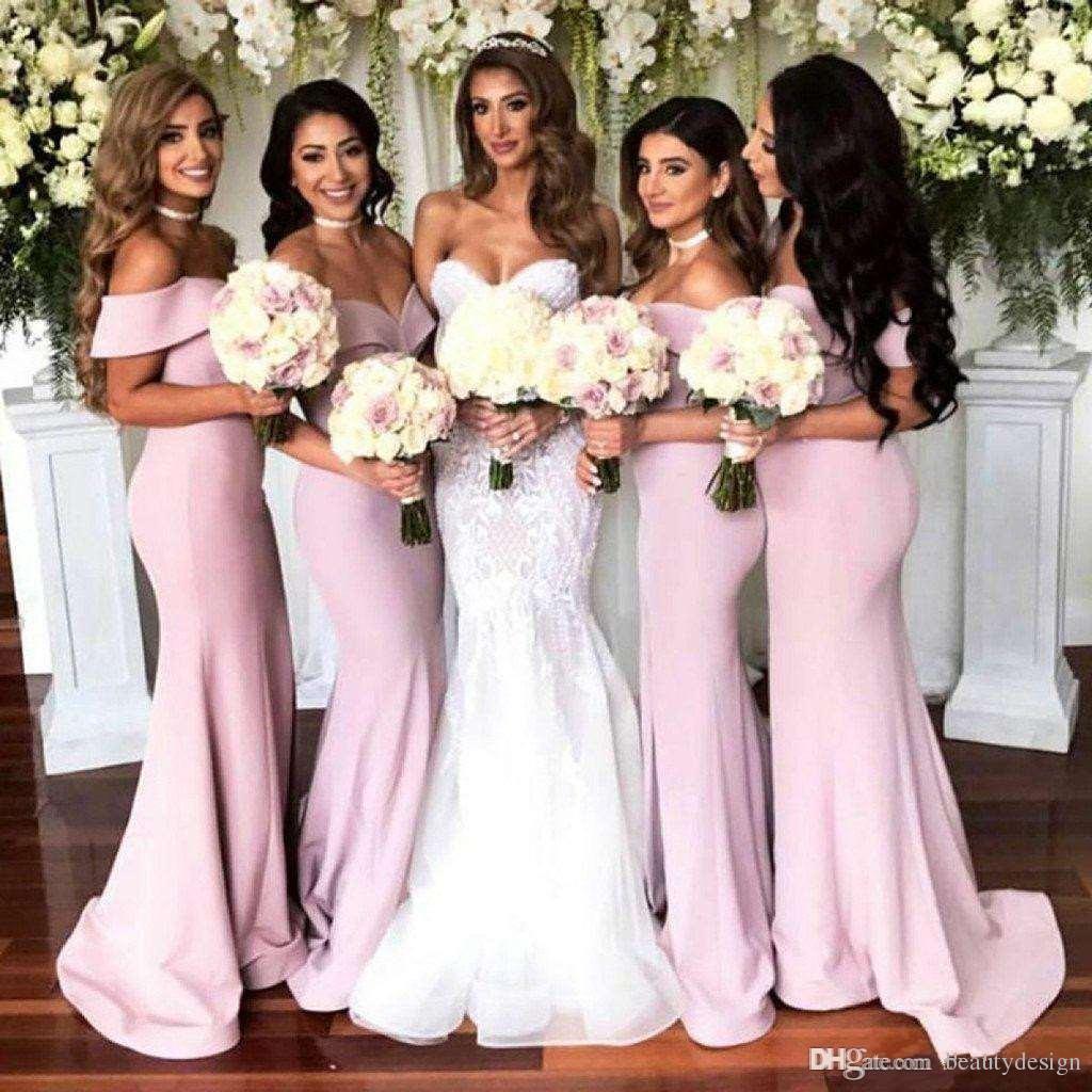 c546bff207 2018 Elegant Pink Satin Off the Shoulder Mermaid Bridesmaid Dresses Sexy  Side Split Prom Dress Wedding Guest Dresses Custom Made