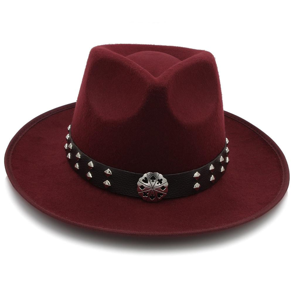 987072aacbcdc 2019 Fashion Women Felt Fedora Hat With Wide Brim Wool Jazz Hat Sombrero  Lady Fascinators Trilby Steampunk Belt From Melontwo