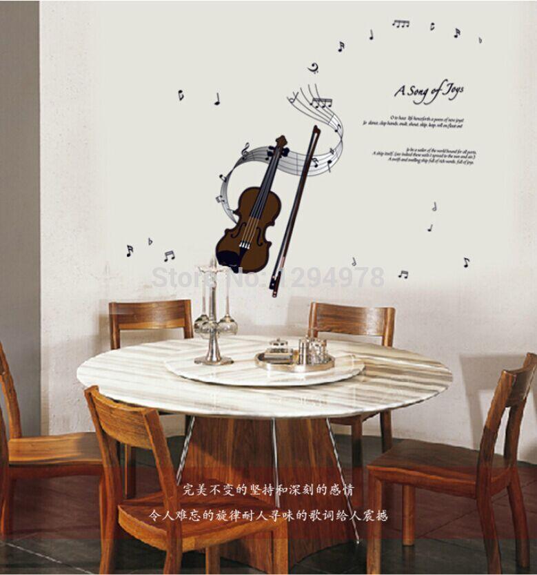 Violine Musical Notes DIY Entfernbare Wandaufkleber Kindergarten Musikzimmer Das Klavier Room Home Decor Wandbild Aufkleber AY7180