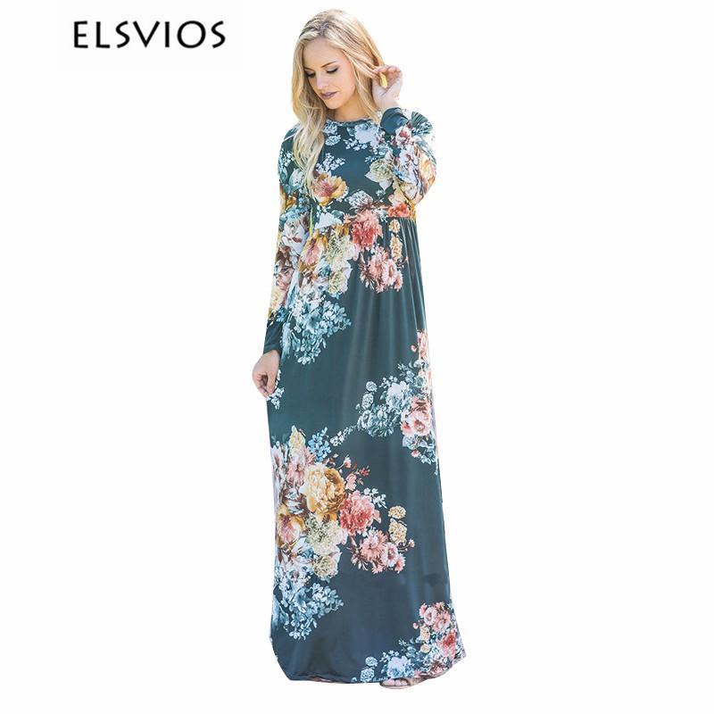 f4a99fc52 Compre Elsvios Mujeres Con Estampado Floral Boho Maxi Dresses 2018  Primavera Verano Vestido Largo Moda O Cuello Manga Larga Con Estilo Vestido  Hasta El ...