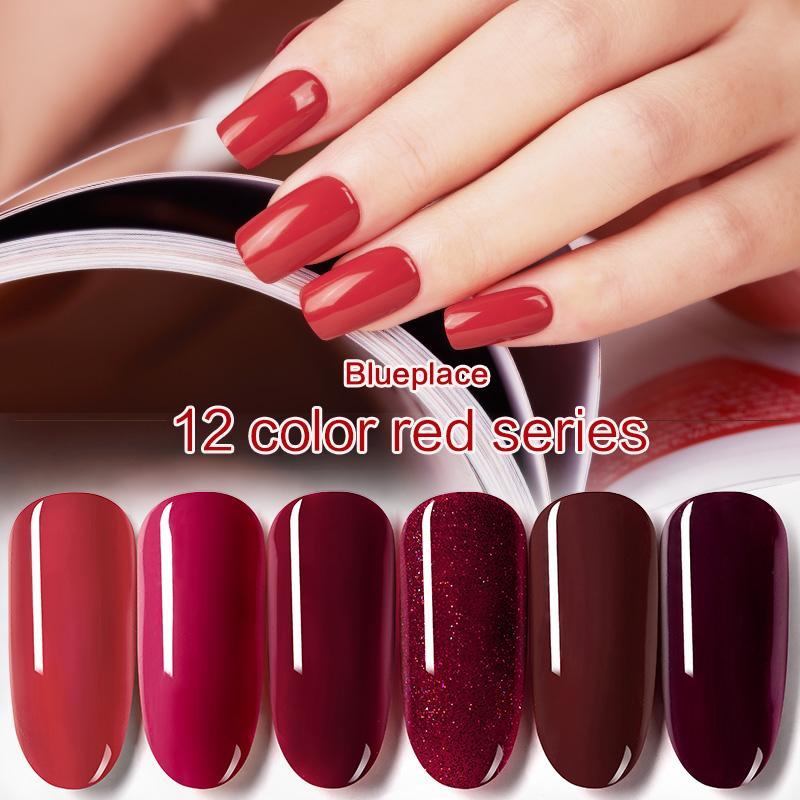 Hot Sale Blue Place 8ml Wine Red Nail Gel Polish Shiny Vanish ...