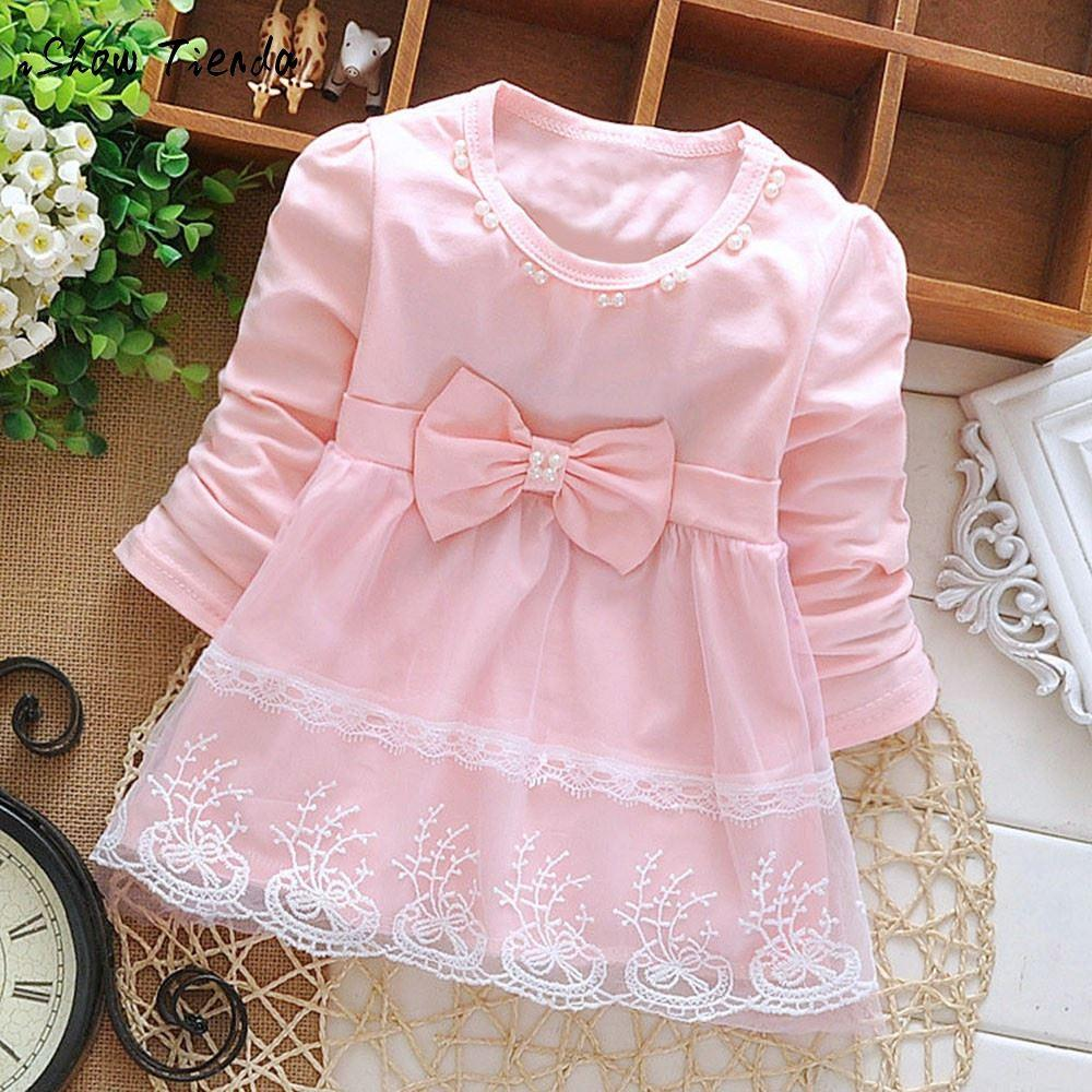 2019 First Birthday Outfit Girl Winter Bowknot Lace Long Sleeve Tulle Dress Baby Party For Newborns Vestido 1 Ano From Guoli0005 1328