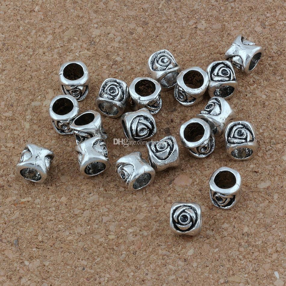 Atacado 150 pçs / lote Antique Silver Tone Liga Spacer Beads Fit Encantos Europeus Pulseira Arte Rose Design 7X7.5 MM F-3