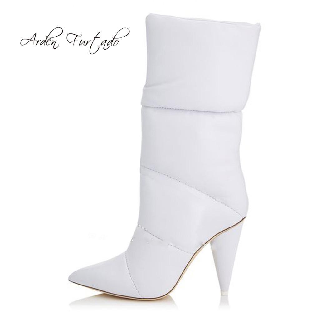 fc49aac99eca Arden Furtado 2018 Winter Down Boots White Cone Heels Fashion ...