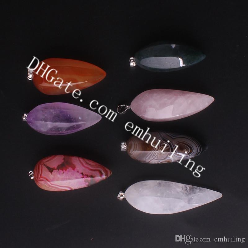 Amulet Spiritual Protection Black Red Agate Amethyst Quartz Crystal Point Freeform Pendant for DIY Stone Wire Wrapping Gems Necklace Pendant