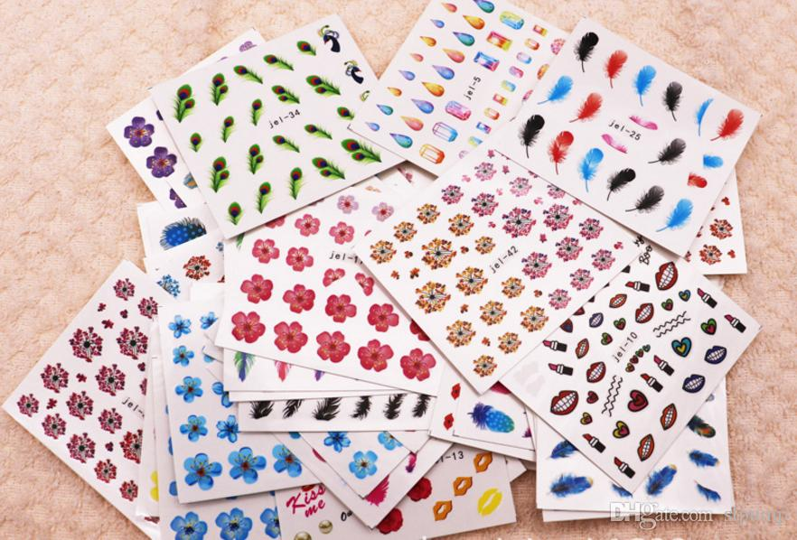 48 Sheets Mix Color Transfer Foil Nail Art flowers Sticker Decal For Polish Care DIY Universe Nail Art Decoretion