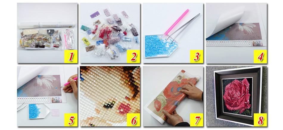 Evening duck water DIY 5D diamond needle wheel 3D diamond needle tool set diamond Mosaic room decoration