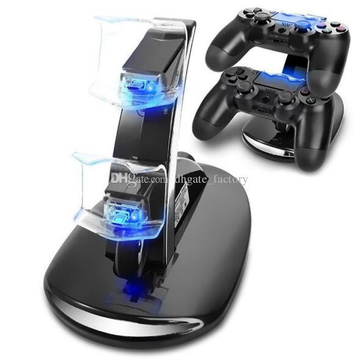 Soporte dual de carga USB para cargador de base USB para PlayStation 4 PS4 Xbox One Gaming Controller inalámbrico con caja de venta al por menor ePacket