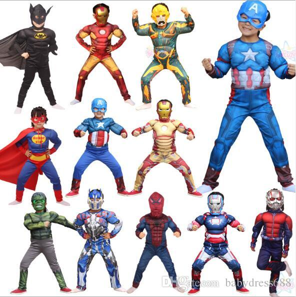 e30260a6f6d13 Kids Clothing Unisex Halloween Costumes Children s Heroes Superman Captain  America Iron Man Transformers Costume Spiderman Batman Costume