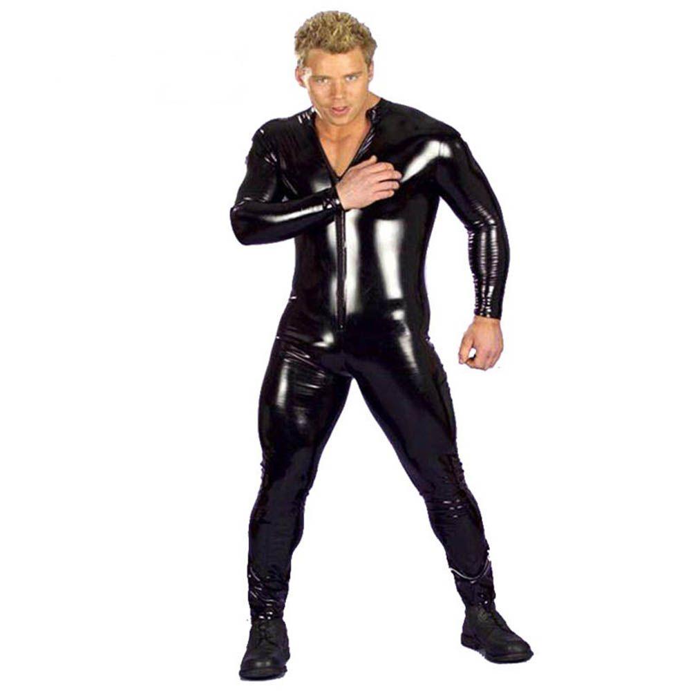 837ec6ad94ac5 2019 Plus Size Hot Sexy Men Latex Catsuit Faux Leather Vinyl Bondage  Jumpsuit Leotard Unitard Fetish Costumes Wetlook Zentai 3XL From Hoeasy