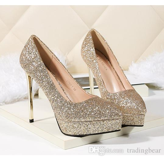 2c8f1eddd5c1 Bridesmaid Wedding Shoes Silver Gold Red Glitter Sequined Pointed ...
