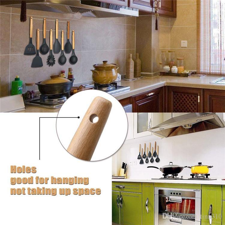 Nouveau bois poignée en silicone Ustensiles de cuisine pour la cuisine Turner Slotted Spatule cuillère Louche Outils spaghetti de cuisine IB691 de jeux