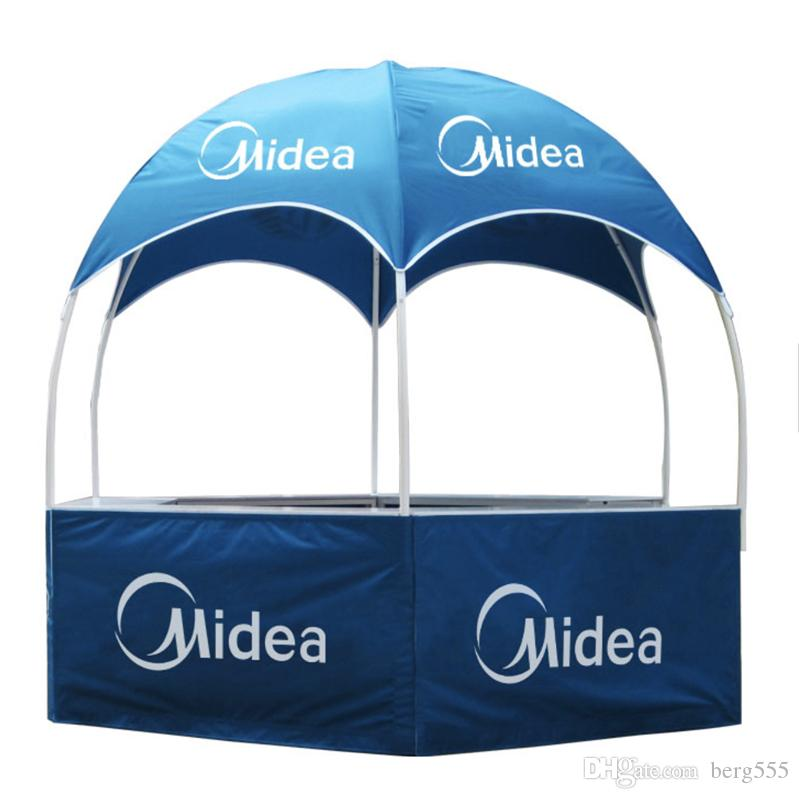 Trade Show Table Portable Plastic Promotion Display Counter for Outdoor  Promotion Events with Dye-Sublimation Graphics and Wheeled Bag