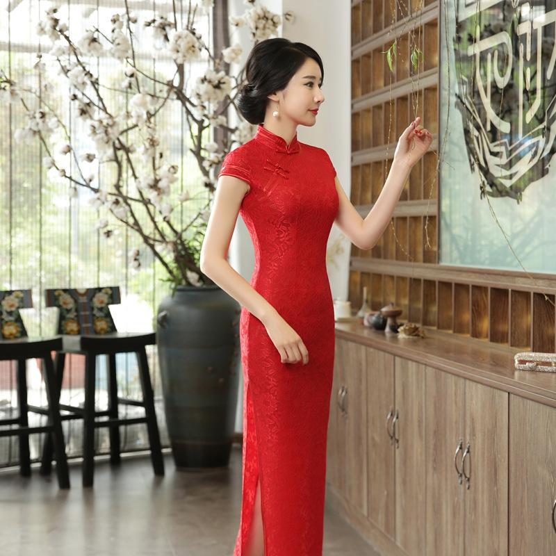 Chinese Cheongsam Long Qipao Red Lace Slim Vintage Print Fashion ... 95bc33fa421a