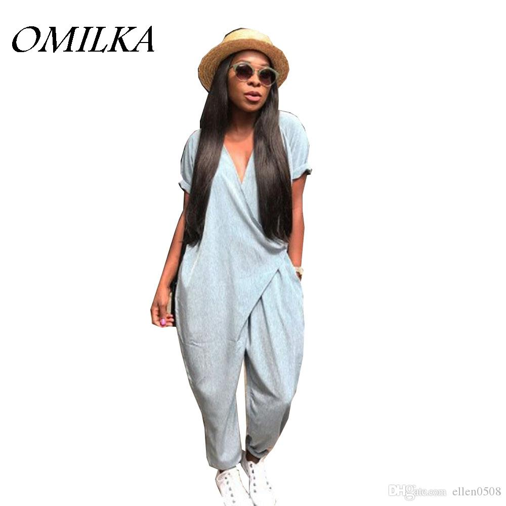 21a55f6fef35 2019 OMILKA 2018 Summer Women Short Sleeve V Neck Harem Rompers And Jumpsuits  Casual Loose Gray Pocket Club Streetwear Overalls From Ellen0508