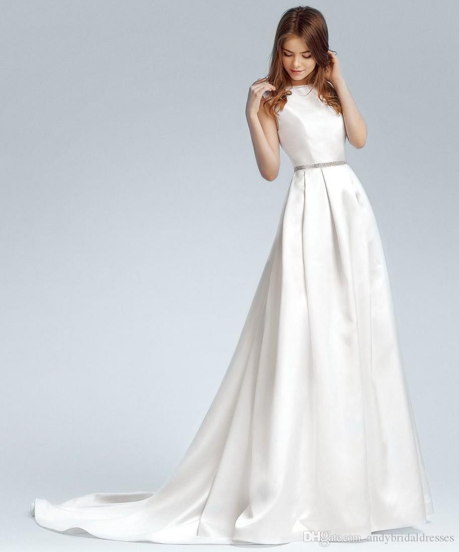 d339e1fd960b A Line Satin Wedding Dresses 2019 Simple Design Sleeveless Scoop Neck Court Train  Bridal Gowns For Wedding With Beaded Sash a Line Wedding Dress Satin ...