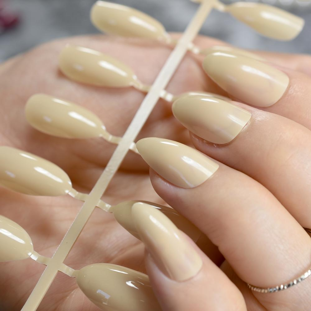 Beige Candy Nail Tips Almond Design Point Stileo Acrylic Nails ...