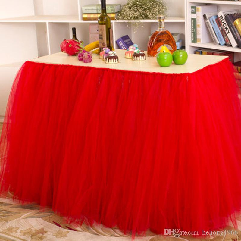 Tulle Tablecloth For Wedding Banquet Colorful Table Skirt Birthday Party Decorative Light Baby Bridal Showers Decor Gift 18mr Y