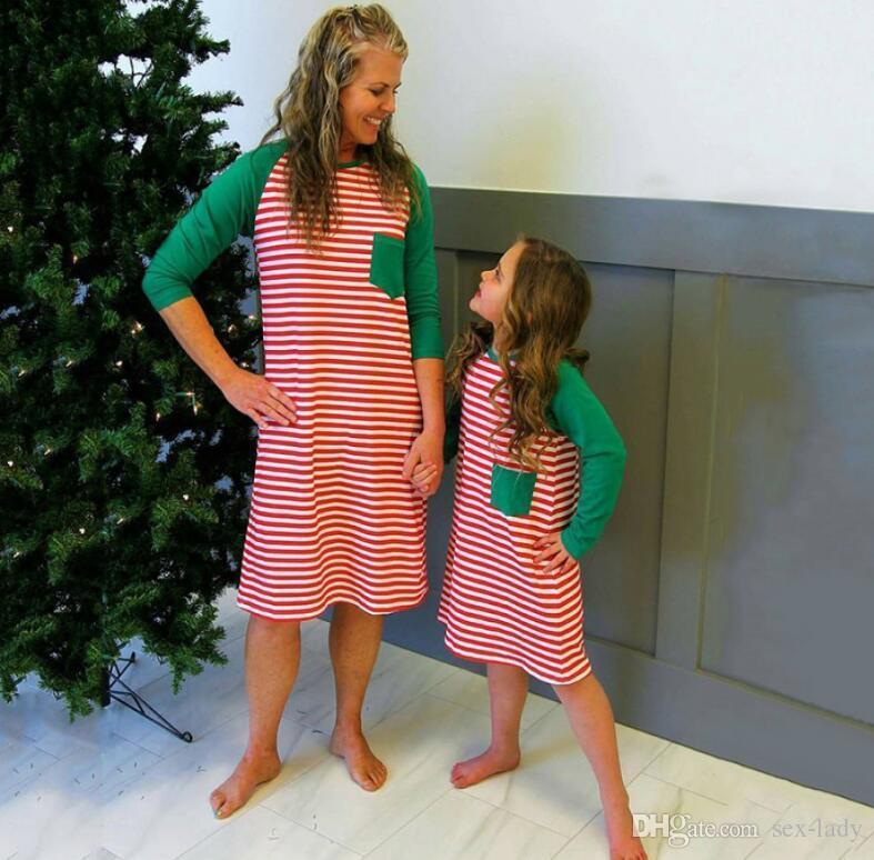 gro handel mutter und tochter kleidung familie weihnachten pyjamas weihnachten striped minikleid. Black Bedroom Furniture Sets. Home Design Ideas