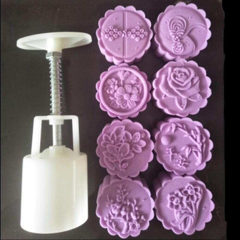 Kitchen,dining & Bar Beautiful Flower Stamps Round Plastic Chinese Festival Moon Cake Cookies Mooncake Embossing Tool Mold 1 Barrel+8 Stamps Mould Other Kitchen Specialty Tools