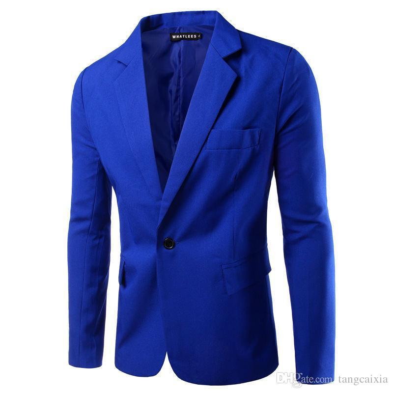 0b456e2303 2019 Mens Fashion Blazer Casual Slim Fit Suit Jacket Solid Color ...