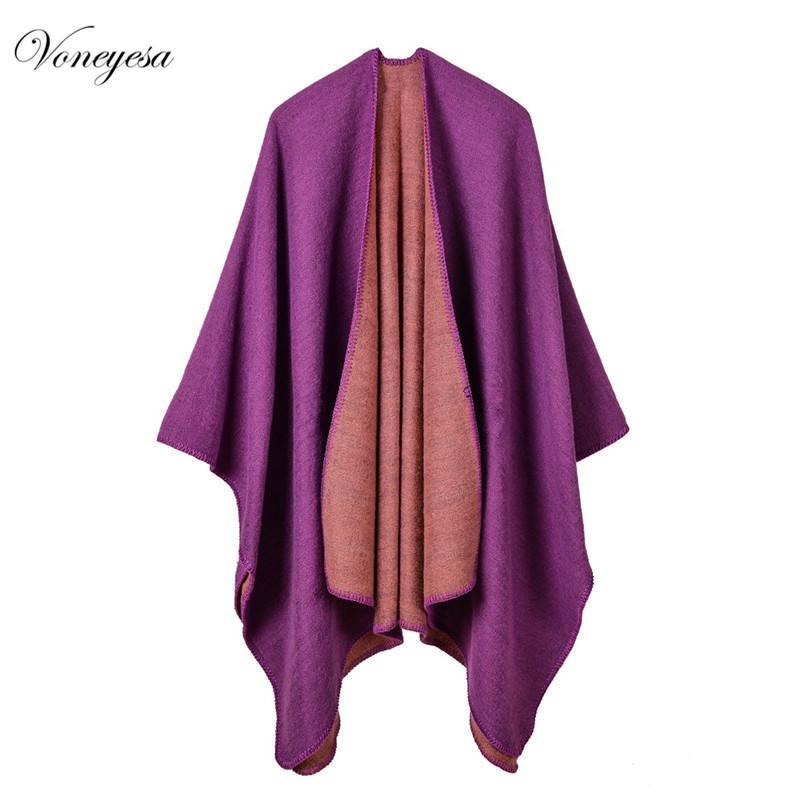 Winter Top Sell Scarves Capes New Multi-Function Solid Women Poncho Shawl Shawls For Lady Warm Scarves Voneyesa Brand RO17012