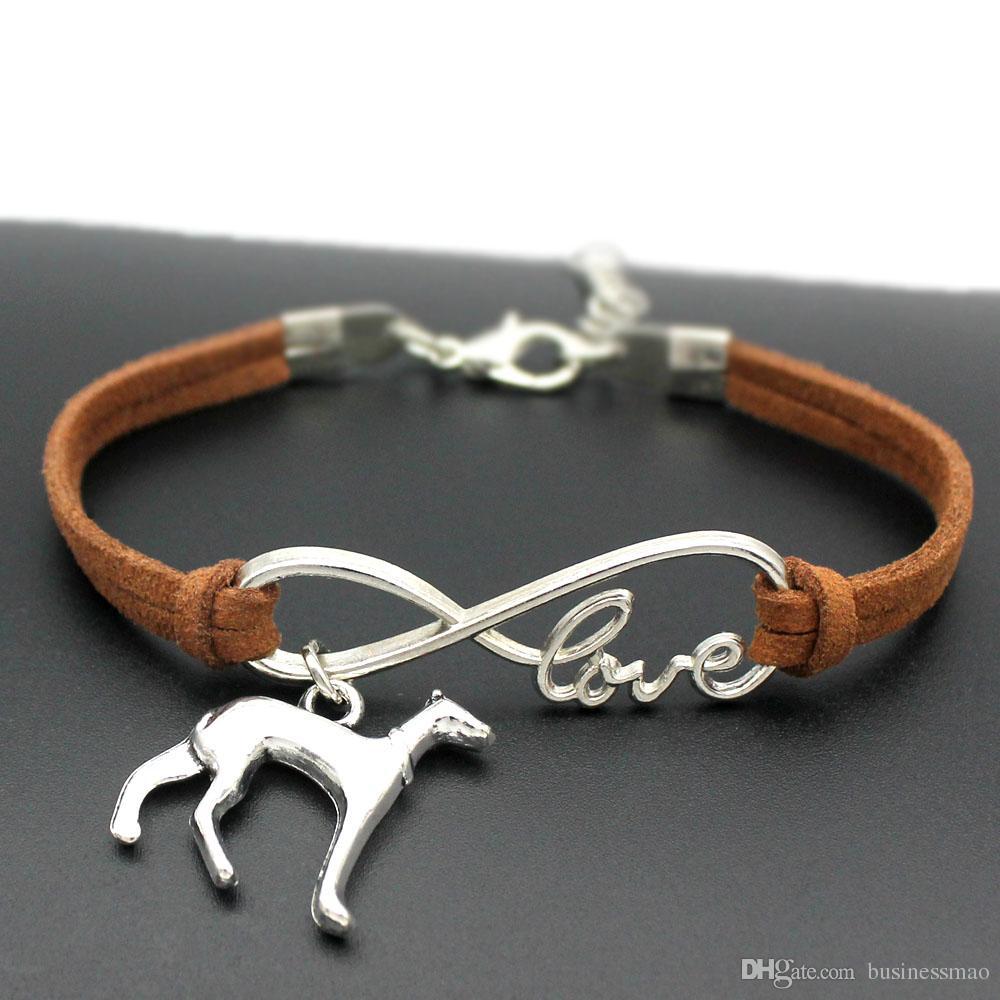 014dedebb8118e Infinity Love Greyhound Charms Bracelets Whippet Chien Bijoux Pour Hommes  Femmes En Cuir Bracelet Amitié Cadeau