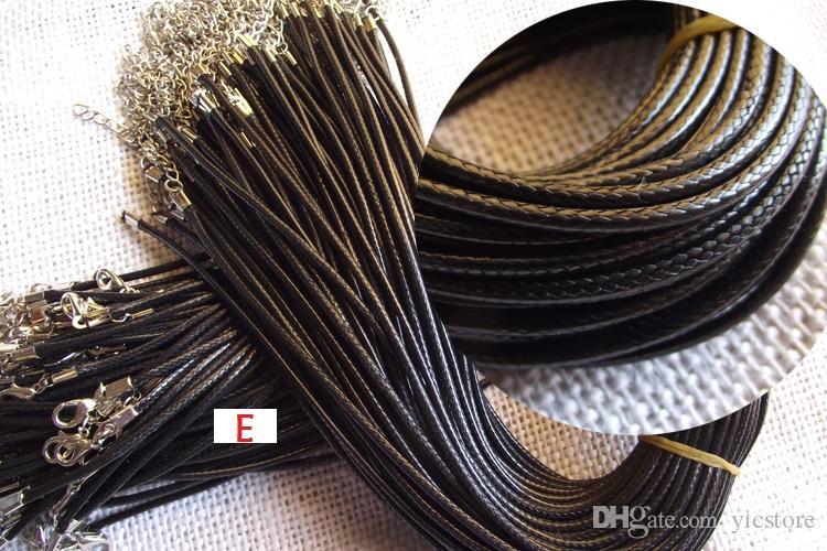 저렴한 블랙 왁스 가죽 뱀 목걸이 구슬 코드 문자열 로프 와이어 45 센치 메터 익스텐더 체인 랍스터 걸쇠 DIY 보석 부품 5 스타일
