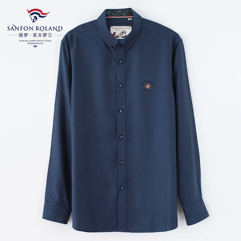 82c8b3e9e68 Men Shirts Long Sleeve Mens Dress Shirt Solid Color Lyocell And ...