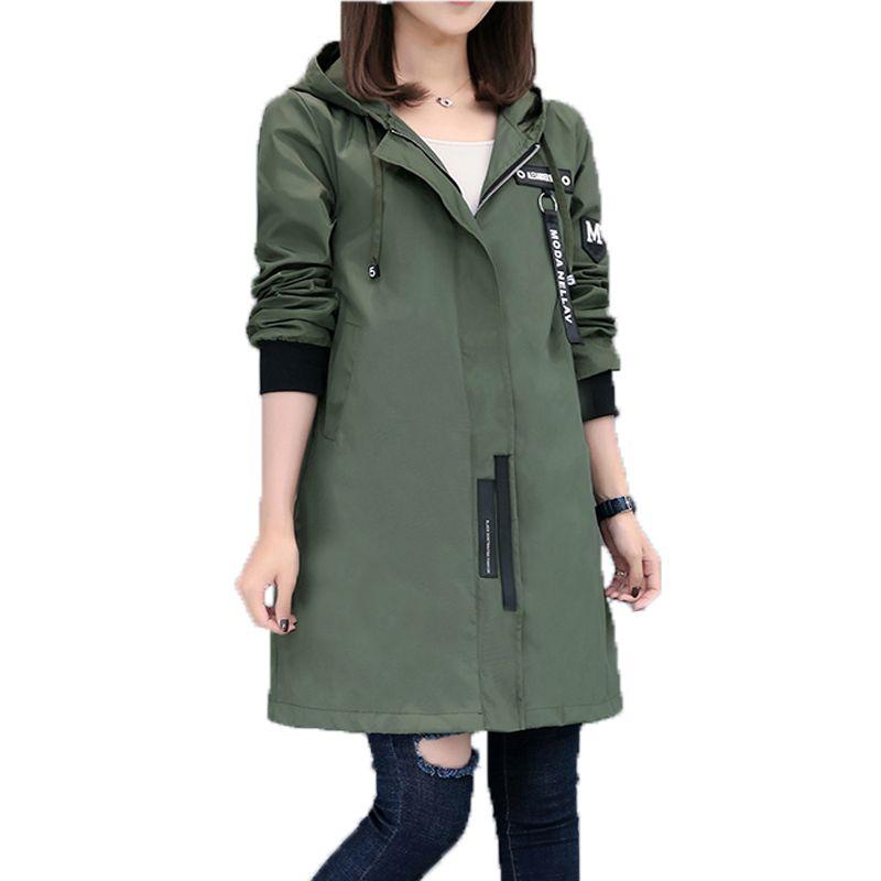 233a0ce1db4 2019 2017 New Spring Autumn Trench Coat Women Causal Long Sleeve With Hood  Medium Long Army Green Female Coat Casaco Feminino CoatsY1882402 From  Zhengrui06