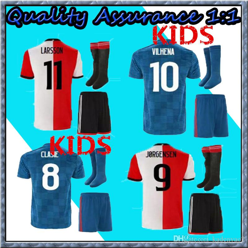 18 19 Feyenoord KIDS Soccer JerseyS 2018 2019 11 LARSSON 32 V.PERSIE ... 1c46b0325