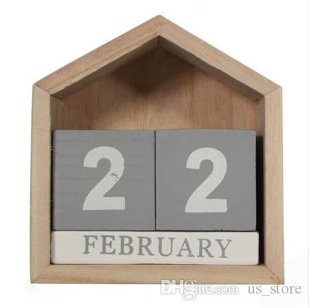 Vintage Design House Shape Perpetual Calendar Wood Desk Wooden Block Home Office Supplies Decoration Artcraft Hanging Decor Gift Special Dates Planner Board