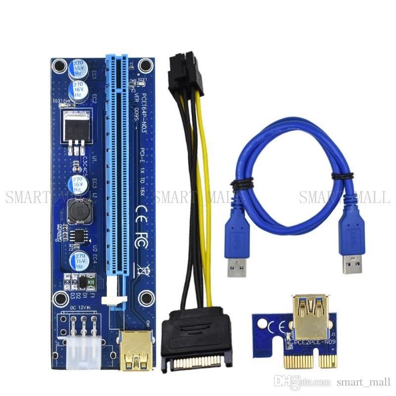 لبطاقة محول الطاقة PCI-E Riser Express من BTC Ver009S بحجم 60 سم 1X 4 × 8 × 16x مهايئ Riser موسع بطاقة SATA 15Pin-6Pin USB 3.0 60 سم مع كابل LED