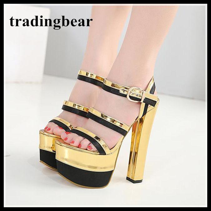 High heels party sandals 16.5cm thin heels shoes women buckle strap 7.5cm plaform sandals ankle strap Open Toe 2018 summer cheap online 5uDj2