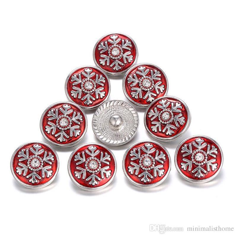 2018 Yeni Noel Yapış Takı Düğmeler Noel Kar Tanesi Metal Düğmeler fit Yapış Bilezik Yeni Yıl Hediyeleri