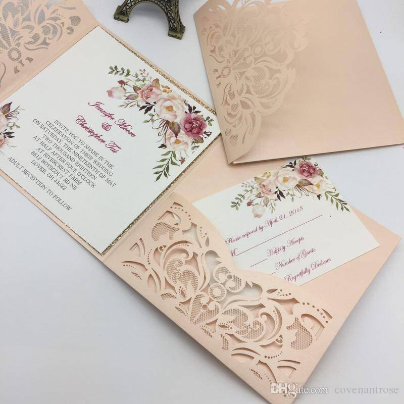 new style unique laser cut wedding invitations cards high quality personalized hollow flower bridal invitation card cheap wedding invitations laser cut